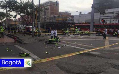 Fuerte Accidente de tránsito en la avenida caracas deja un policía muerto