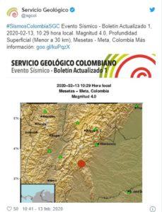 Última hora: Se registra temblor en el centro del país, cerca del Meta